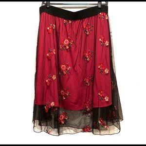 LuLaroe LOLA Black & Pink Skirt